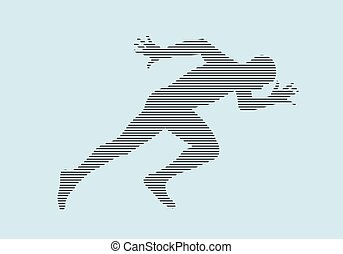 atleta, sprint, corrida, começar, silueta, corredor
