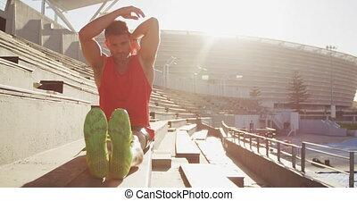 atleta, stadion, rozciąganie, kaukaski