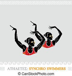 atleta, synchro, nuotatori