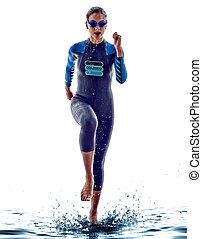 atleta, triatlón, mujer, ironman, nadadores