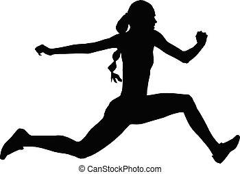 atleta, triple, salto, mujeres, puente