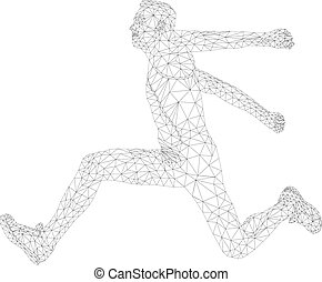atleta, triplo, homens, salto, jumper