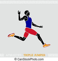atleta, triplo, ponticello