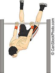atleta, vector, barra, horizontal
