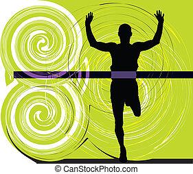 atleta, vector, ilustración