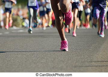 atletas, corriente, corra, niños, joven