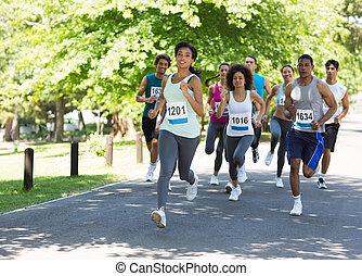 atletas, corriente, maratón