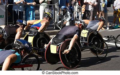 atletas del sillón de ruedas