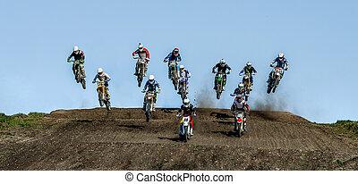 atletas, grupo, motocross, jinetes