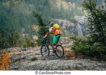 atletas, ligado, a, bicicleta