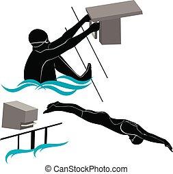 atletas, silhuetas, nadadores, jogo