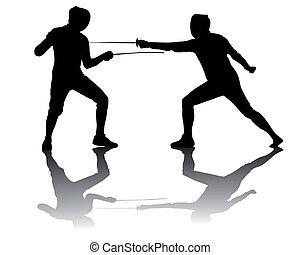 atletas, silhuetas, pretas, fencers