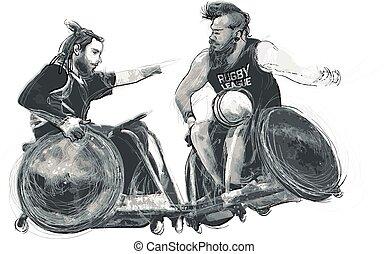 atleten, onbekwaamheden, -, rugby, lichamelijk