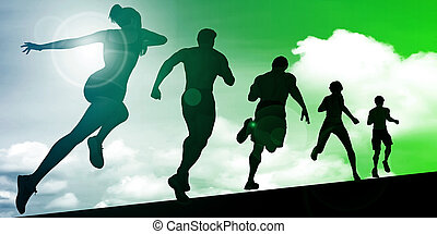 atleten, rennende
