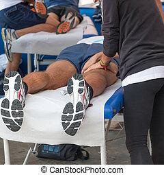 atleter, afslappelse, massage, foran, sport, begivenhed