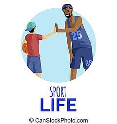 atleti, appartamento, fondo, sport, giocatore, ventilatore, frame., pallacanestro, sportivi, isolato, vita, cartone animato, cinque, illustration., bianco, alto, dare, vettore, caratteri, allenatore, circolare