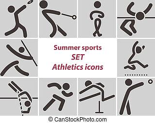 atletica, set, icone