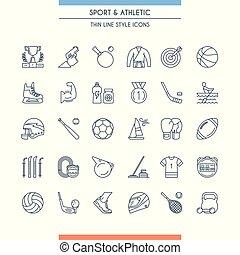 atletica, sport, linea, icone