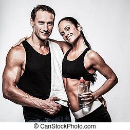 atletický, dvojice, po, cvičit, vhodnost