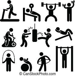 atletický, tělocvična, tělocvična, cvičit