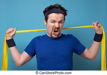 atletico, banda, wall., uomo esercita, gomma, blu