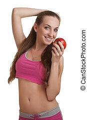 atletico, donna, mela
