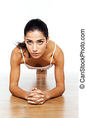 atletico, esercizi, ragazza, stiramento
