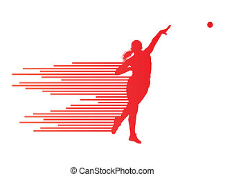 atletico, lancio del peso, vettore, fondo, concetto