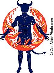 atletico, mistico, circondato, cornuto, demone, vettore, ...
