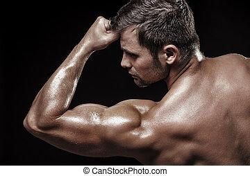 atletico, nero, giovane, fondo, uomo