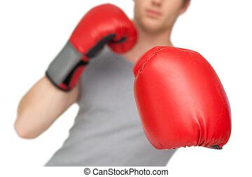 atletico, pugilato, uomo, guanti, rosso, il portare