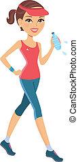 atletico, ragazza, correndo