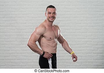 atletico, shirtless, uomo