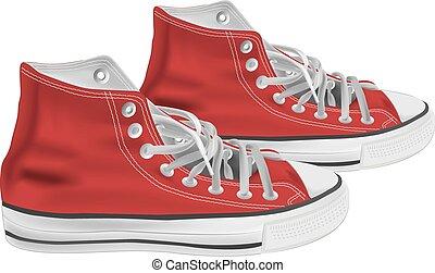 atletico, vettore, scarpe, illustrazione