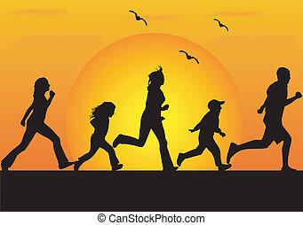 atletisch, 2, gezin