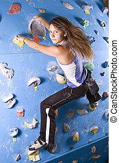 atletisch, beklimming, meisje