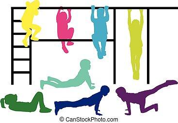 atletisch, children., silhouettes