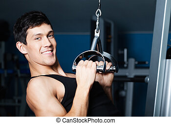 atletisch, fitnnesszaal uitrustingsstuk, fitness, werken, uit, man