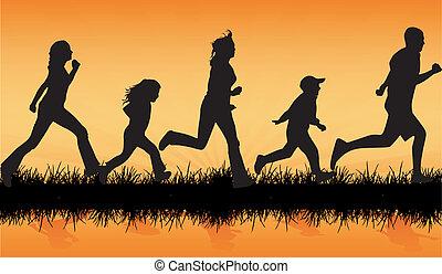atletisch, gezin