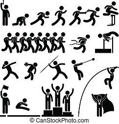 atletisch, hardloop wedstrijd, spel, sportende, akker