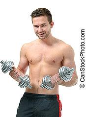 atletisch, jonge man, doen, oefeningen, met, dumbbells