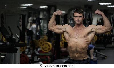 atletisch, lichaamsbouw, atleet, gym., het poseren, mannelijke