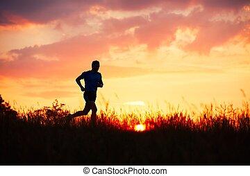 atletisch, loper, ondergaande zon