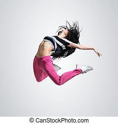 atletisch, meisje, dancing, springt