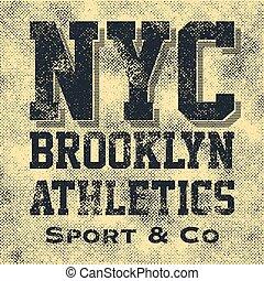 atletisch, nieuw, sportende, york, typografie