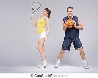 atletisch, paar, gedurende, de, opleiding