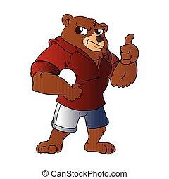 atletisch, vasthouden, ball., beer