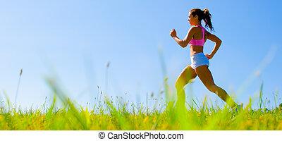 atletisch, vrouw, het uitoefenen
