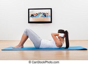atletisch, vrouw trainen, thuis