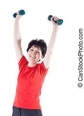 atletisk, elderly kvinde